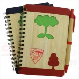 Bloco de Anotações Capa de Bambu c/ Caneta Reciclável 12690